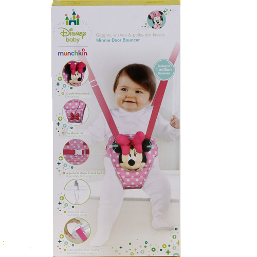 Munchkin disney baby minnie mouse door bouncer brand new for Door bouncer age